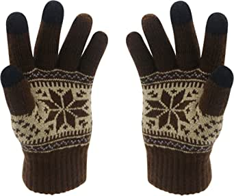 Winter Touch Screen Gloves HÖTER Snow Flower Printing Keep Warm for Women and Men