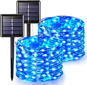 JMEXSUSS 2 Pack Solar String Lights Outdoor Waterproof, 66ft 200 LED Solar Christmas Lights, 8 Modes Silver Wire Blue Solar Fairy Lights for Xmas, Patio, Garden, Party, Wedding Yard Decoration