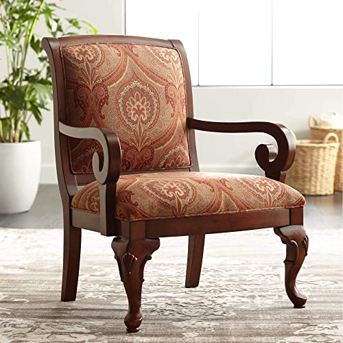 Diana Wood and Red Upholstered Accent Chair – Kensington Hill
