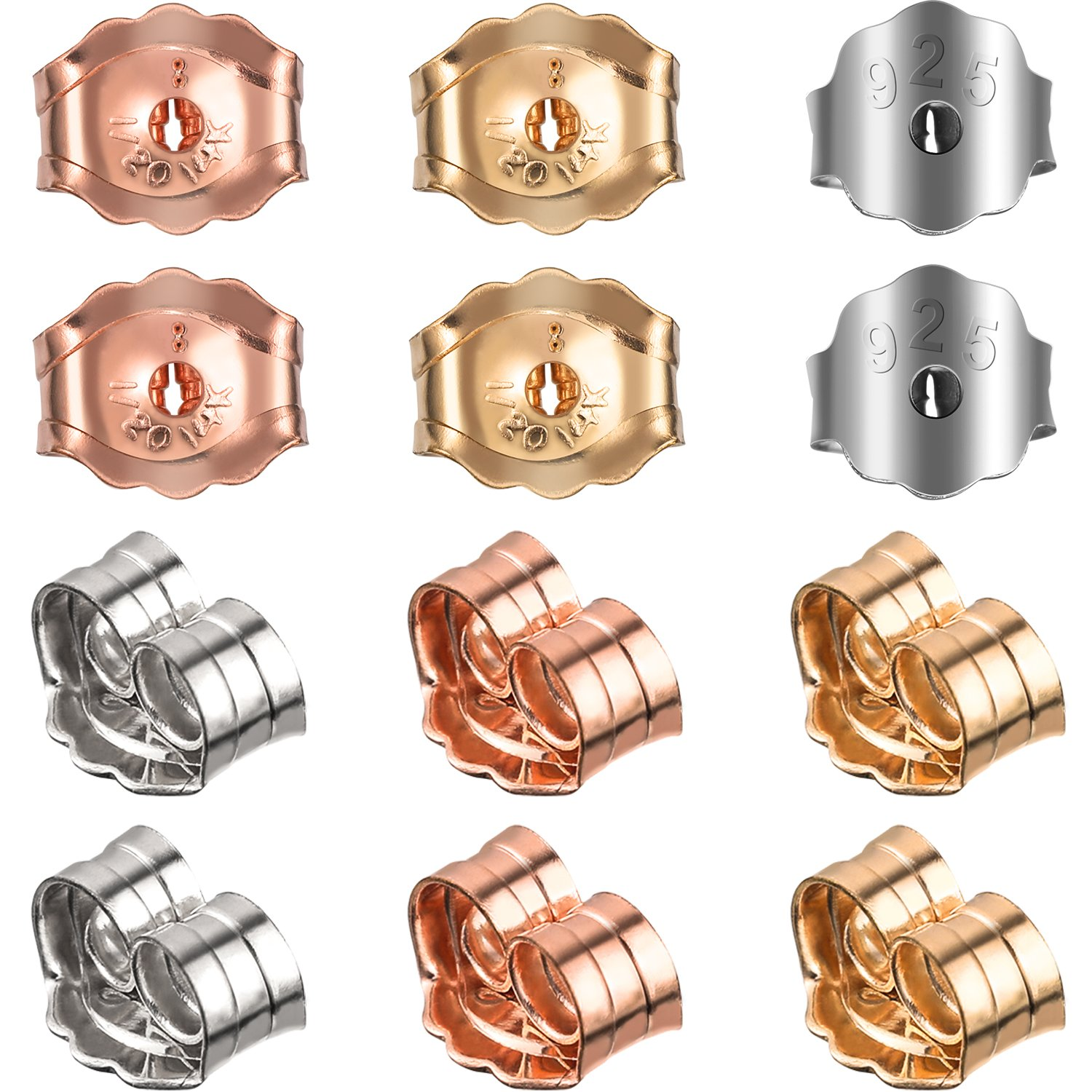 TecUnite 12 Pieces Replacement Gold Silver and Rose Gold Earring Backs, 3 Colors 4336817440