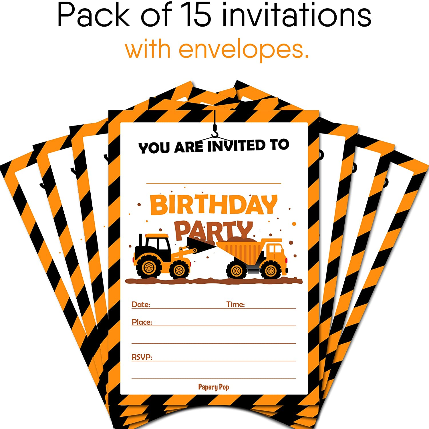 Amazon.com: Construction Dump Trucks Birthday Invitations with ...