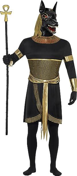 Smiffys Disfraz de Anubis el chacal, Negro, con túnica, cuello, brazaletes,