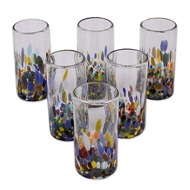 NOVICA Multicolor Eco-Friendly Hand Blown Glass Highball Glasses, 'Confetti Festival' (set of 6)