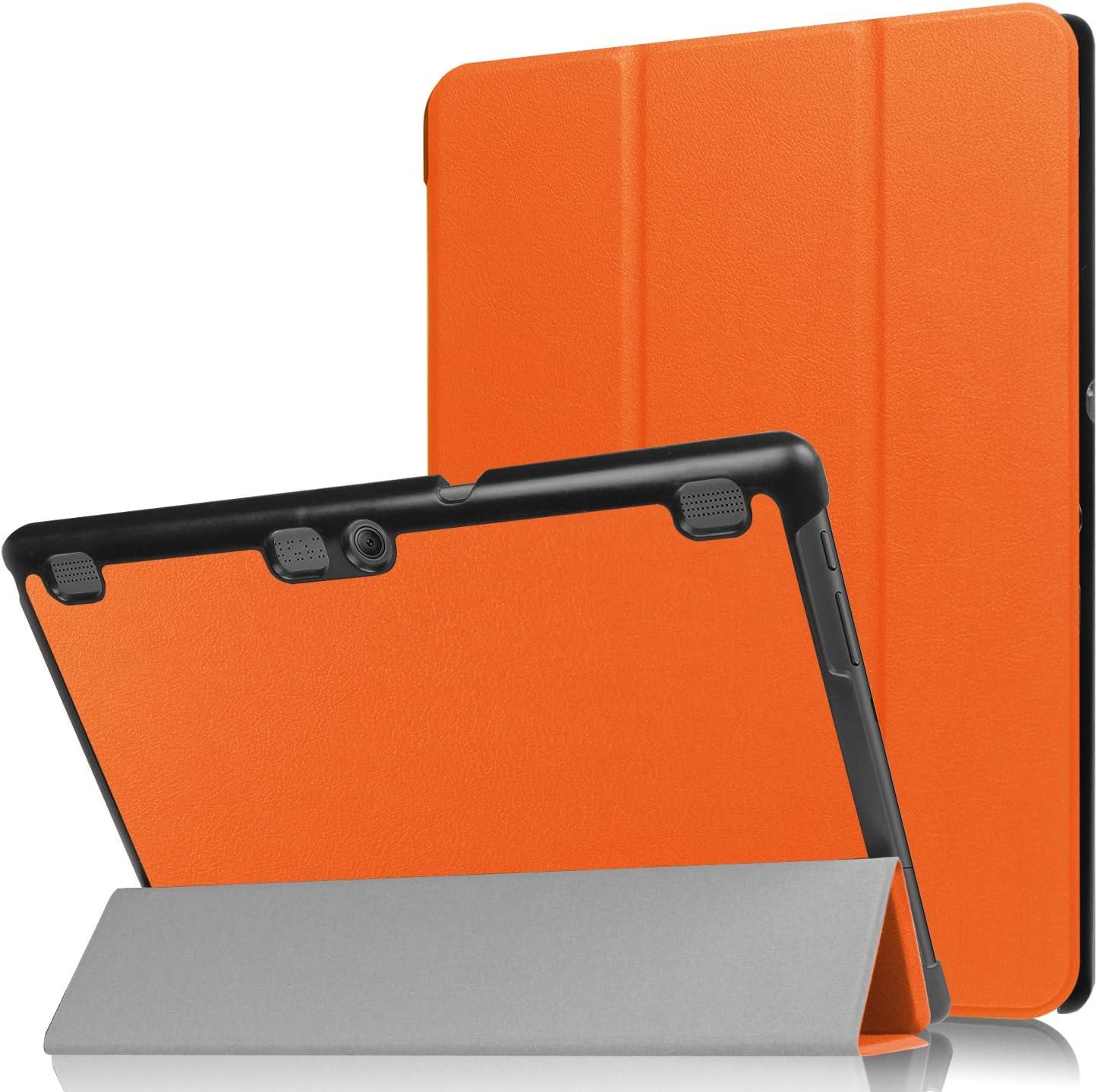 """Asng Lenovo Tab 2 A10/TAB-X103F Tab 10 Case, Ultra Slim Lightweight Tri-Fold Cover for Lenovo Tab 2 A10-70/Tab 2 A10-30/Tab 3 Plus/Tab 3 10 Business TB3-X70/TAB-X103F Tab 10 10.1"""" Tablet (Orange)"""