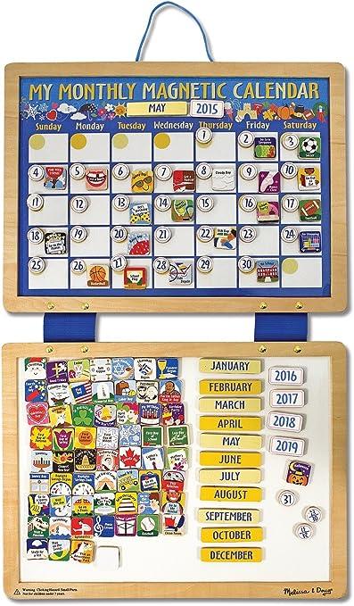 Amazon.com: Melissa & Doug Deluxe Wooden Magnetic Calendar With