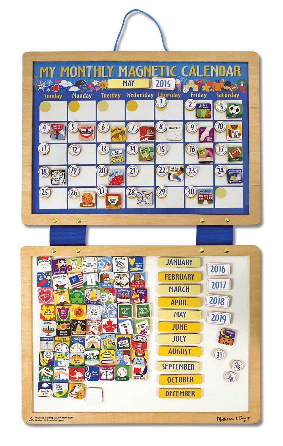 Amazon.com: Melissa & Doug Deluxe Wooden Magnetic Calendar With 134 ...