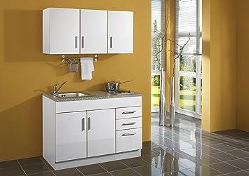 Miniküche Mit Kühlschrank 120 Cm : Held möbel 978.6513 single küche 120 mit 2 er e mulde weiß: amazon