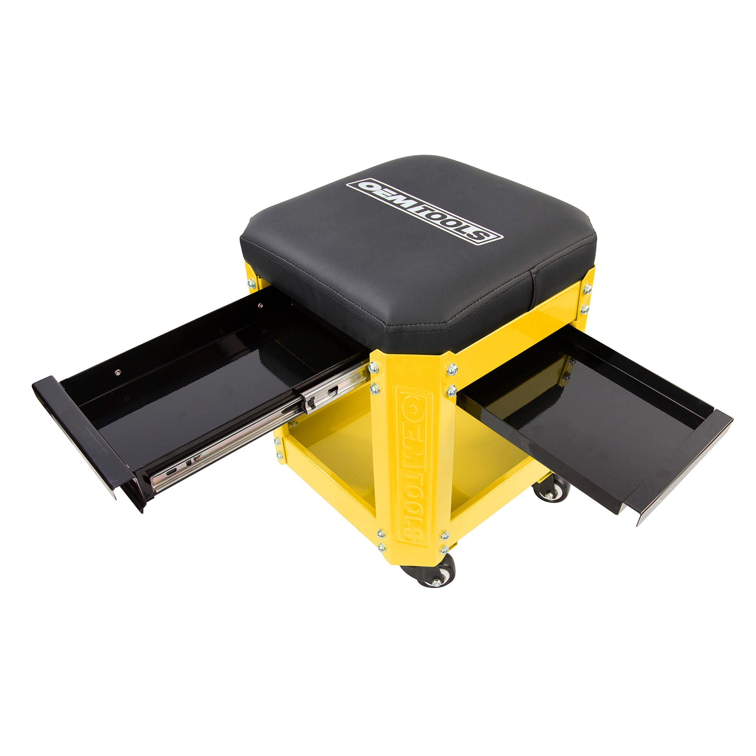OEMTOOL 24999 Yellow Rolling Workshop Creeper Seat with 2 Tool Storage Drawers Under Seat Parts Storage Can Holders by OEMTOOLS (Image #2)