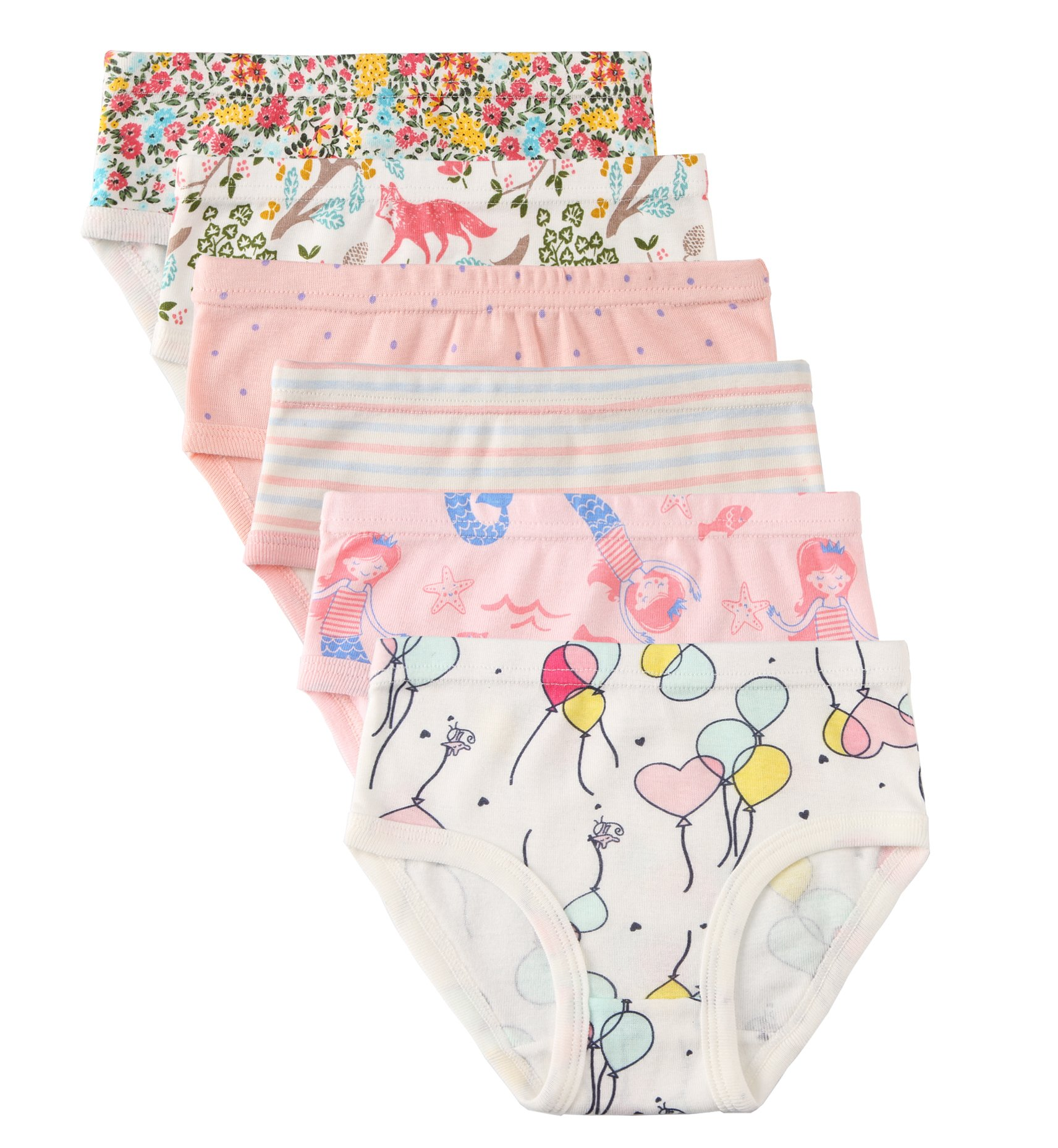 Little Girls' Soft Cotton 6-Pack Underwear Bring Cool, Breathable Comfort Experience in Summer. (Assorted B, 6-7Years)