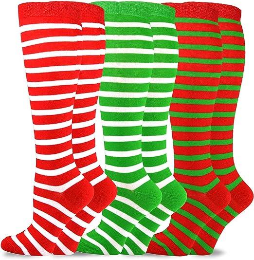 Women/'s Striped Christmas Coloured Knee High Socks SINGLE PAIR