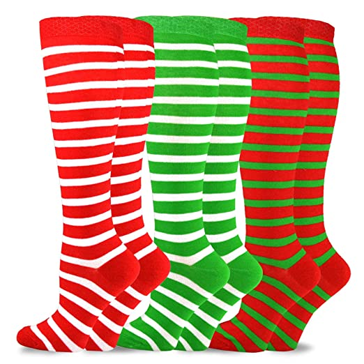5706c1ff559 TeeHee Christmas and Holiday Fun Knee High Socks for Women 3 Pair Pack  (Candy Cane) at Amazon Women s Clothing store