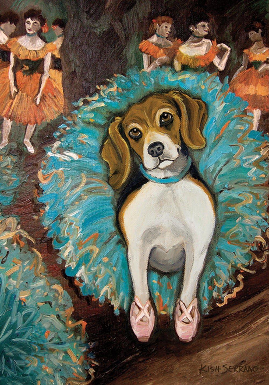 Toland Home Garden Dogas Beagle 12.5 x 18 Inch Decorative Puppy Dog Portrait Ballerina Dancer Tutu Garden Flag