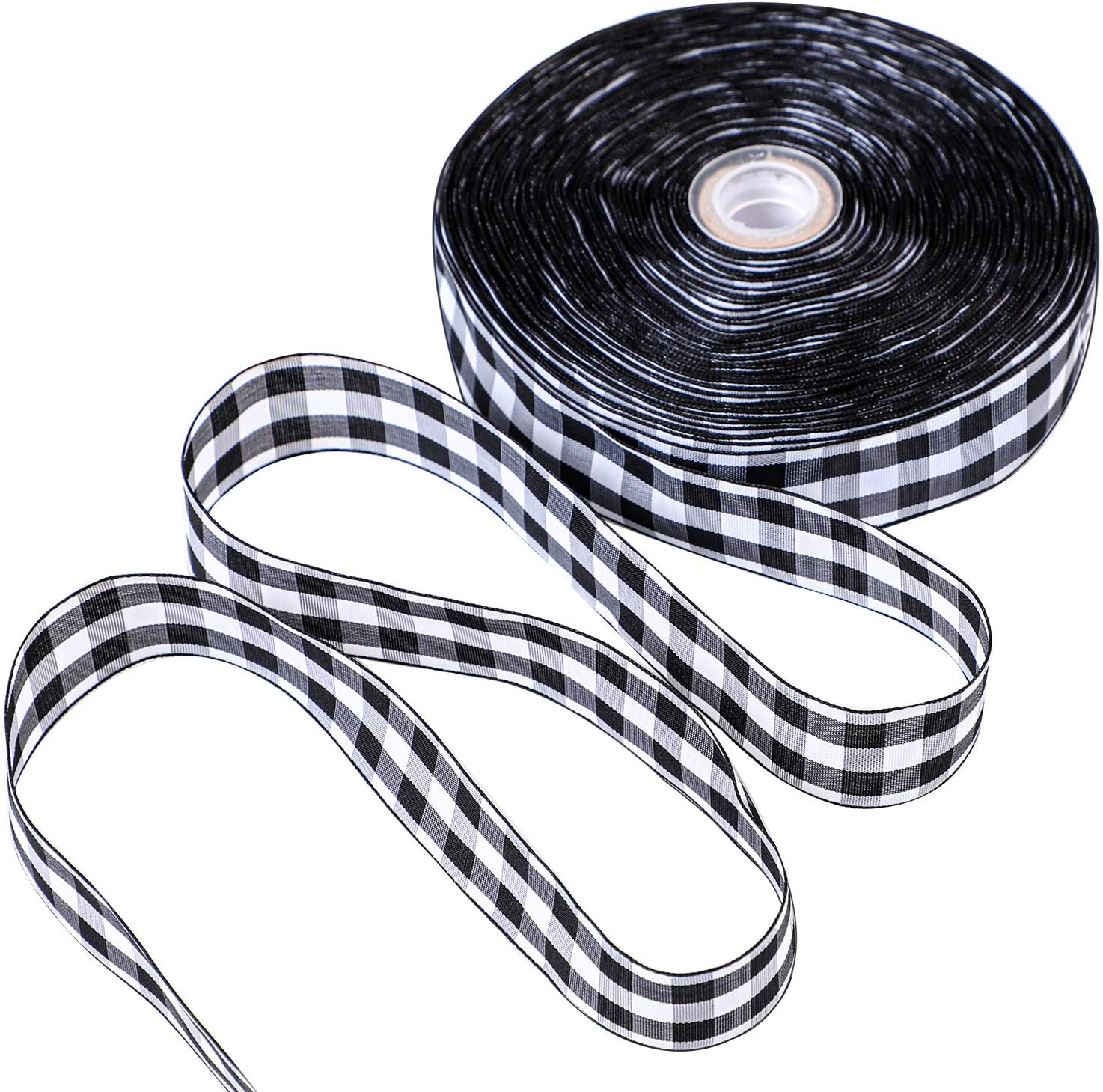 Color A, 1.57 Inches x 25 Yards Floral Bows Craft URATOT 25 Yards White and Black Plaid Ribbon Christmas Wrapping Ribbon Gingham Plaid Ribbon for DIY Crafts Decoration