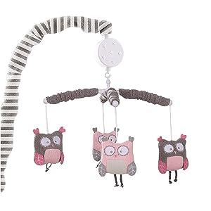 Levtex Baby Night Owl Mobile, Pink, Nursery Mobiles