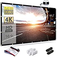 Mdbebbron 120 inch Projection Screen 16:9 HD Foldable Anti-Crease Portable Projector Movies Screen for Home Theater…