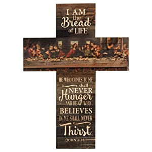 P. Graham Dunn Bread of Life Last Supper Scene Distressed 20 x 14 Wood Wall Art Plaque Cross