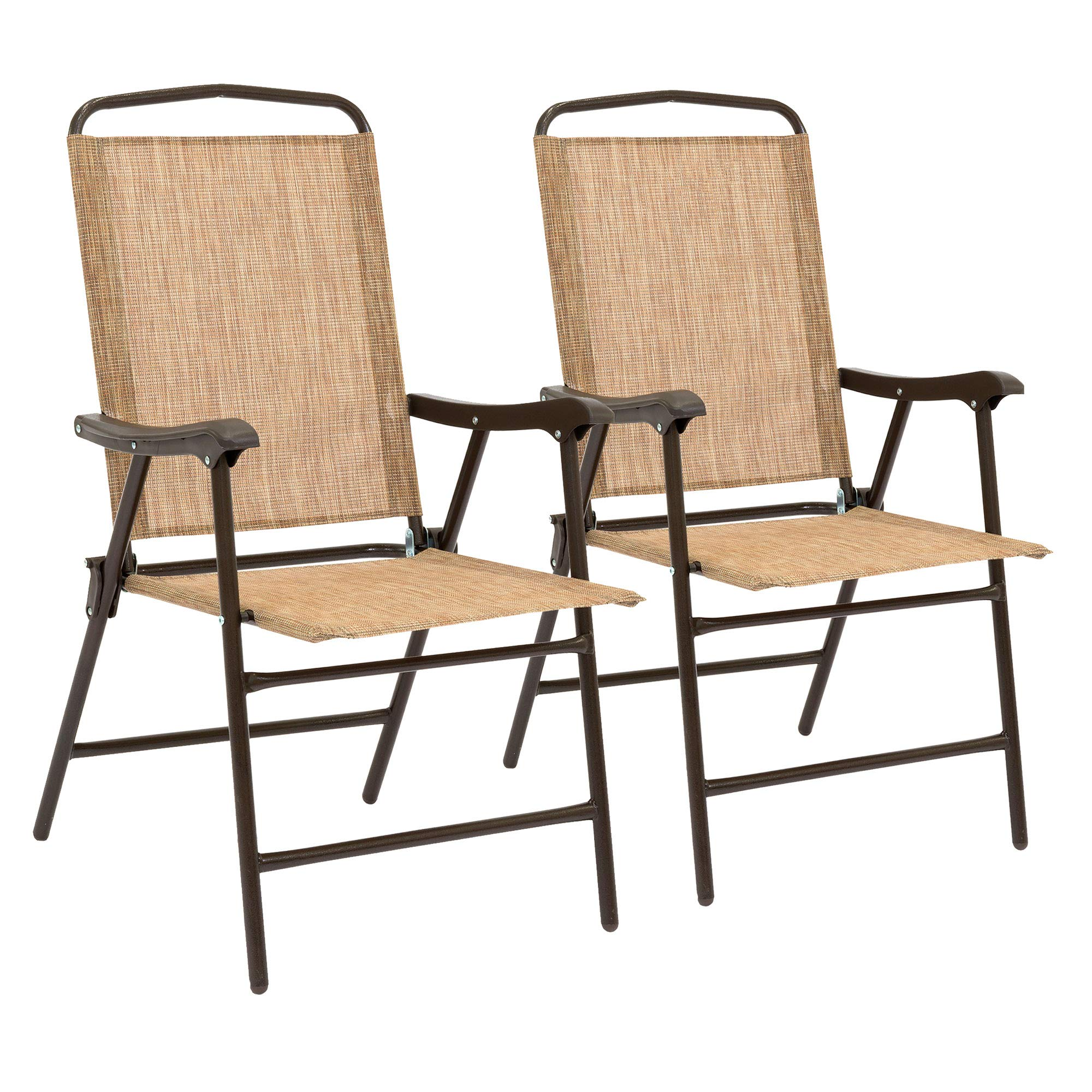 Best Choice Products Set of 2 Weather-Resistant Outdoor Textiline Folding Sling Back Chairs with Metal Frame, Brown by Best Choice Products