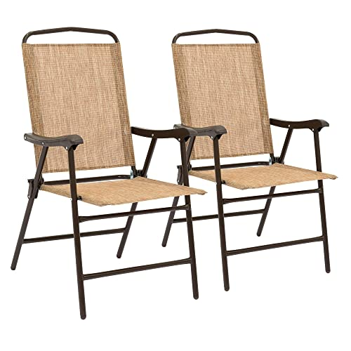Best Choice Products Set of 2 Outdoor Folding Sling Back Chairs for Patio, Deck w Weather-Resistant Fabric, Metal Frame