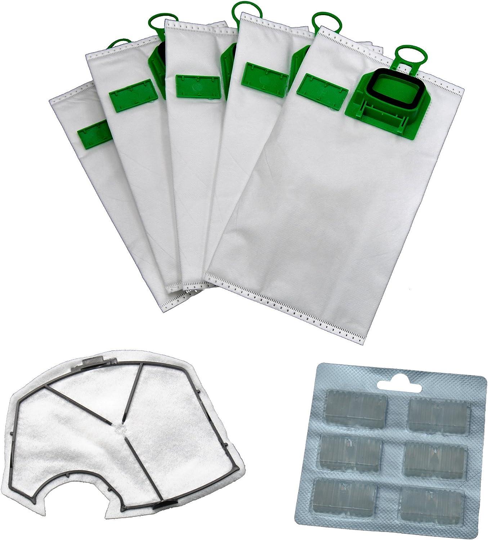 6 eVendix – Bolsas para aspiradora + 1 filtro de protección del motor + 6 Aroma Blocks Adecuado para su Vorwerk Kobold 140/150/VK 140/150: Amazon.es: Hogar