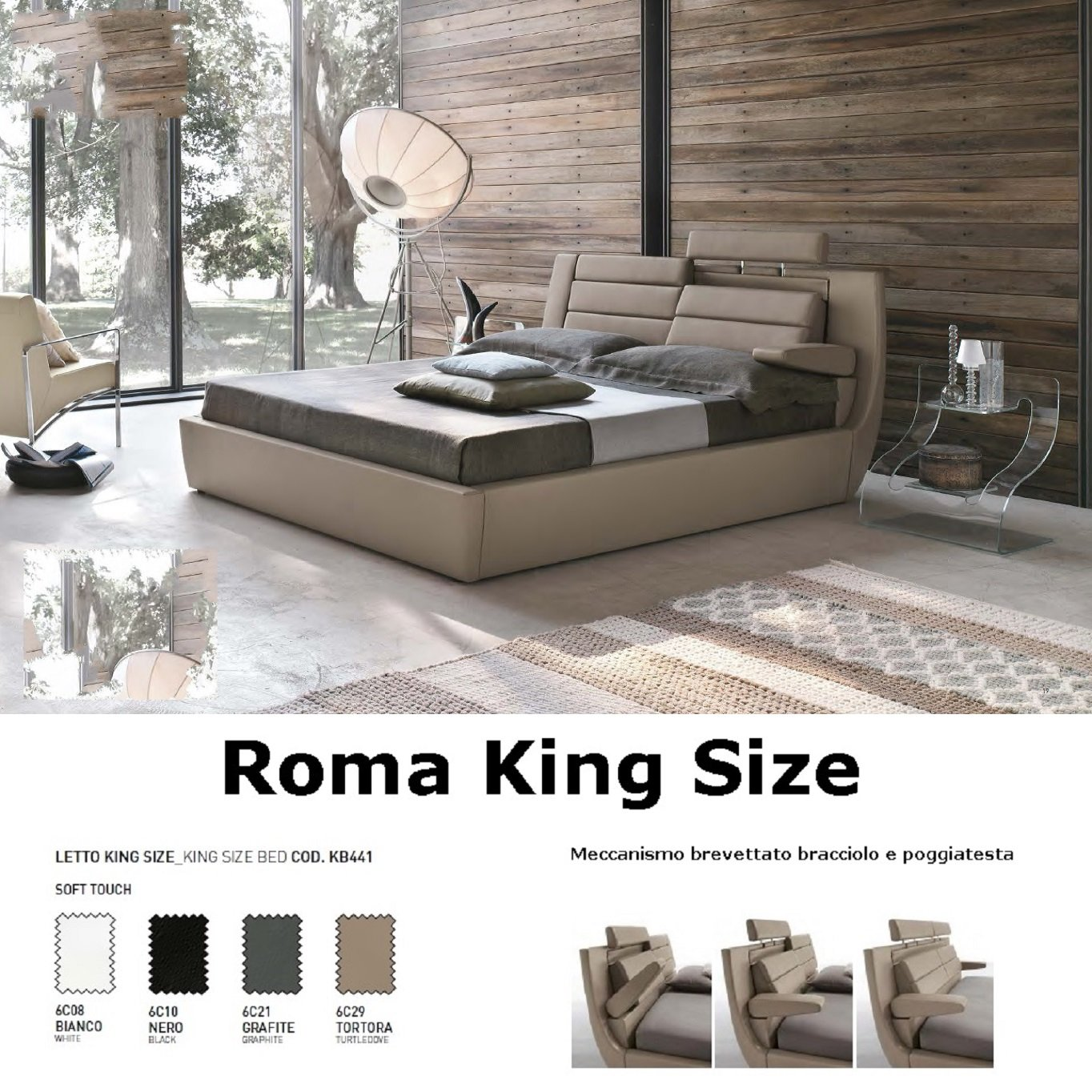 Amazon.de: Target Point - Bett King Size Roma mit Behälter Taupe