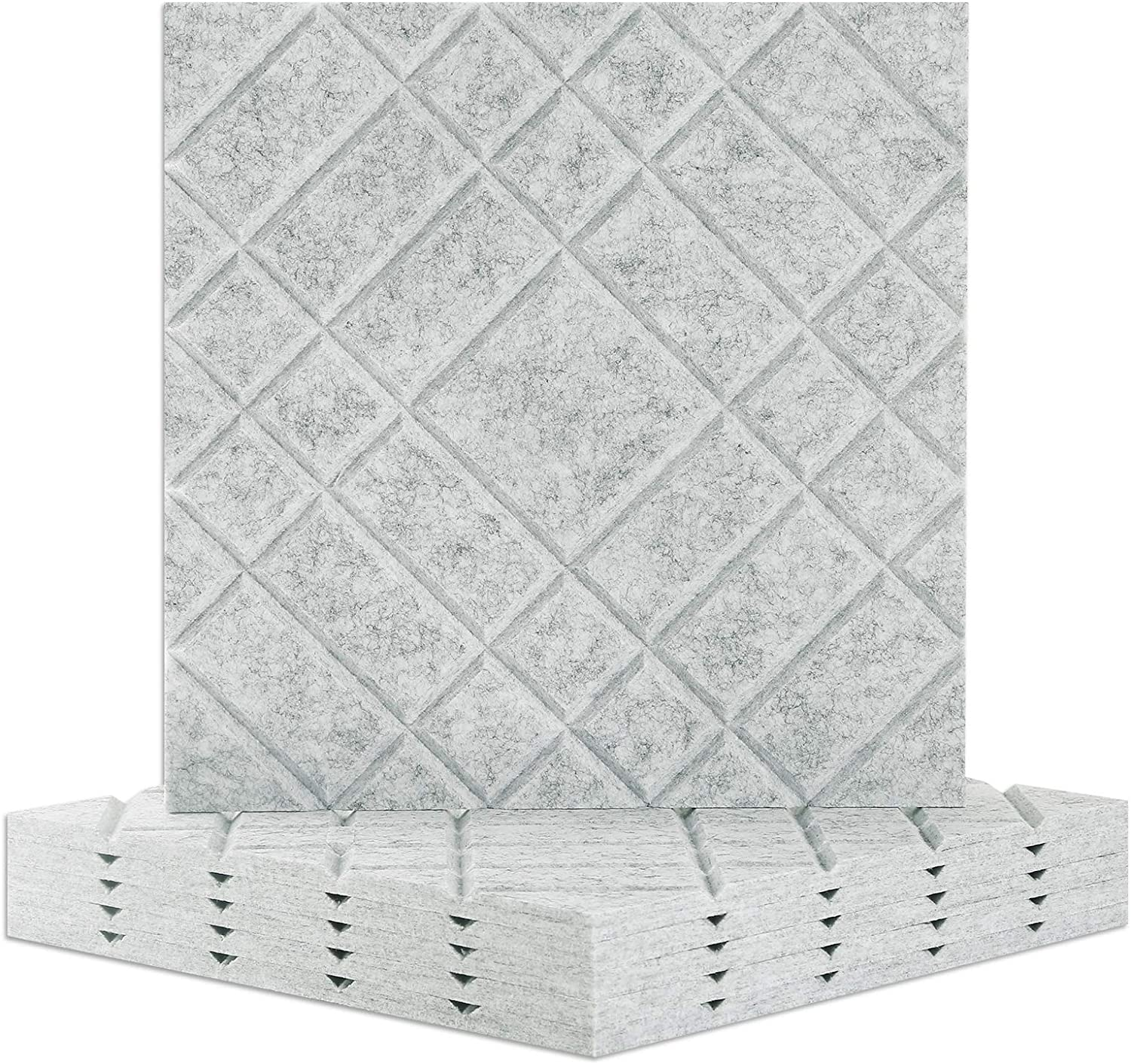 BUBOS 3D Acoustic Panels,Line Carving Exclusive Design Sound Proof Padding Decorative Wall Tiles, For Acoustic Treatment、Studio Home and Office,12'' X 12'' X 0.4'', 6 Pcs (3D Line-2, Grey)