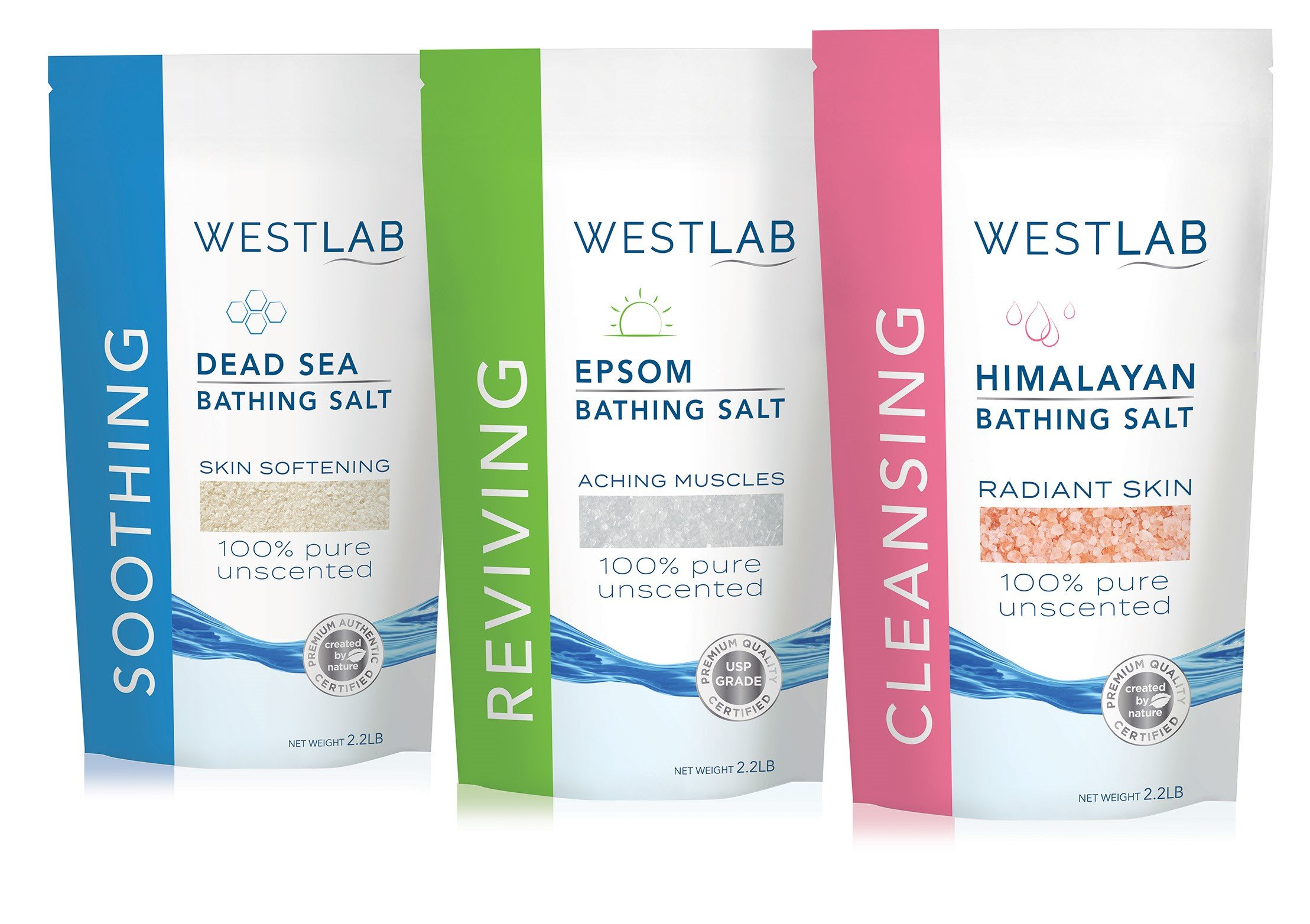Westlab's Bathing Salt Bundle (Himalayan, Dead Sea & Epsom Salts) 3 Total X 2.2lb Resealable Bags
