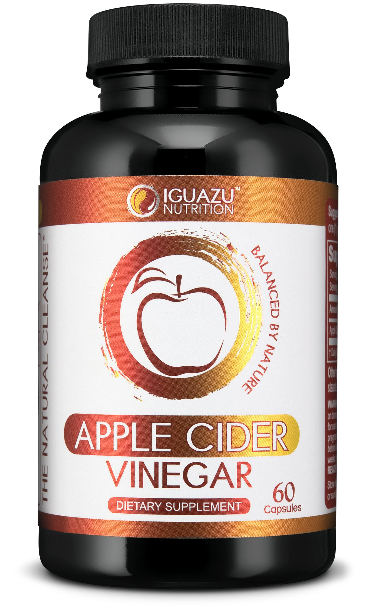 Extra Strength Apple Cider Vinegar Capsules - Natural Cleanser Supports Weight Loss, Healthy Blood Sugar & Cholesterol Levels, Boosts Energy & Metabolism, With the Mother Raw Non-GMO, 500mg Pills by Iguazu Nutrition