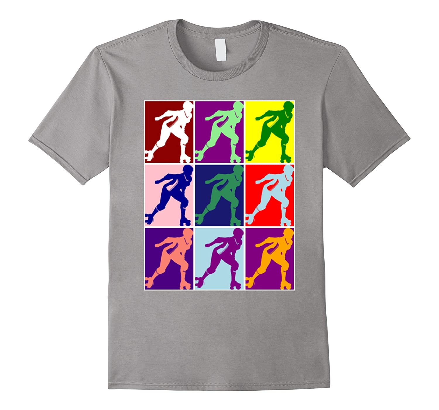 Cute Colorful Roller Skate Derby Girl Pop Type Art T-shirt-Vaci