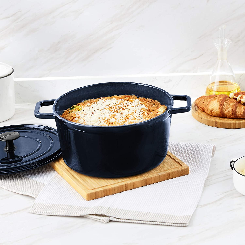 Basics Premium Enameled Cast Iron Dutch Oven 5-Quart Deep Cranberry