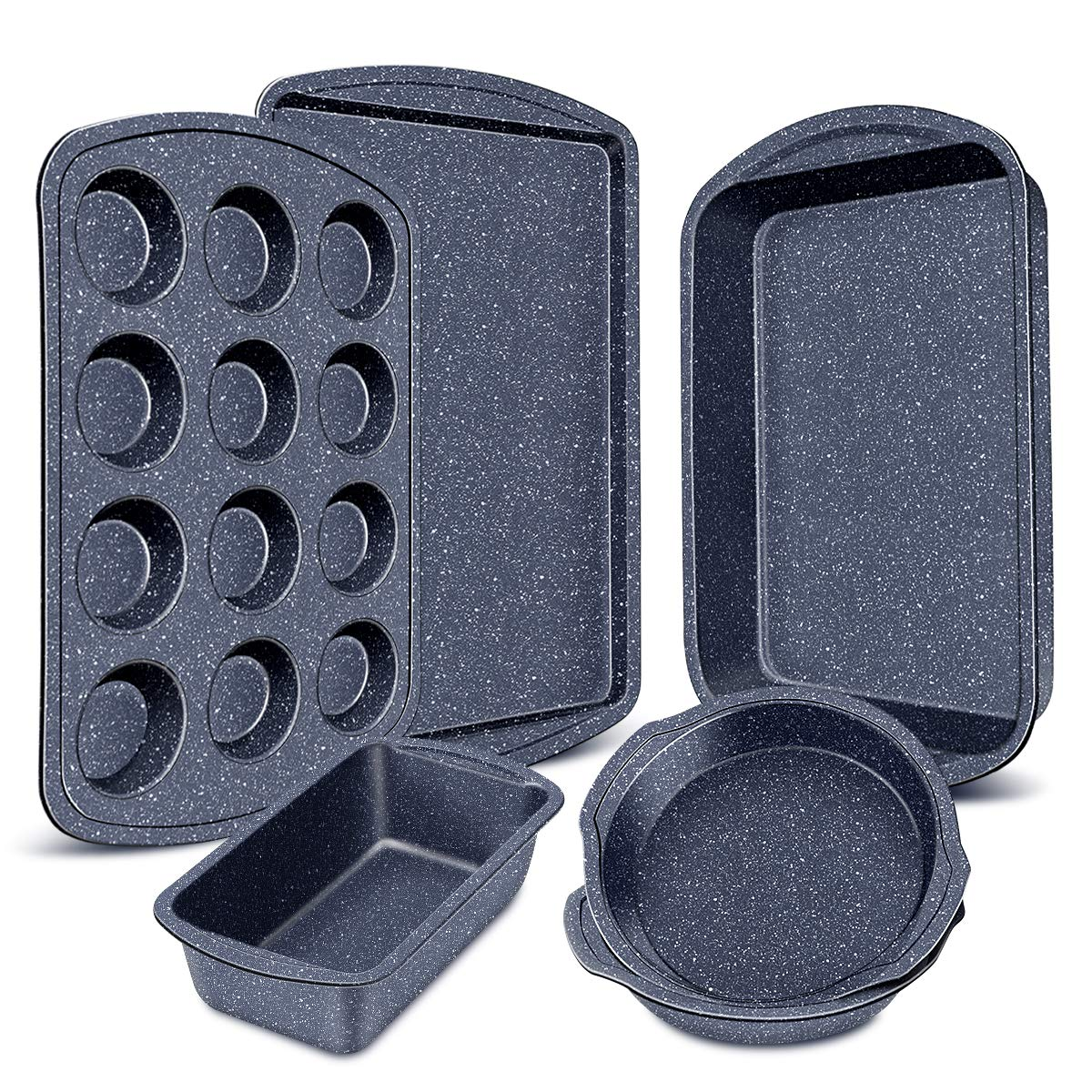 Nonstick Bakeware Set, 6-Pieces Set, Stylish and versatile Bakeware Set with 12-Cup Muffin Pan, Loaf Pan, 2 Round Cake Pans, Roasting Pan,Cookie Sheet, Kitchen Baking Tools. Navy Blue by CUSIBOX