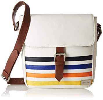 3b6726a98f6 United Colors of Benetton Synthetic 24 cms White Messenger Bag  (18P6BAGS5011I)  Amazon.in  Bags, Wallets   Luggage