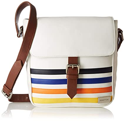 United Colors of Benetton Synthetic 24 cms White Messenger Bag  (18P6BAGS5011I)  Amazon.in  Bags d9865e4408d7f