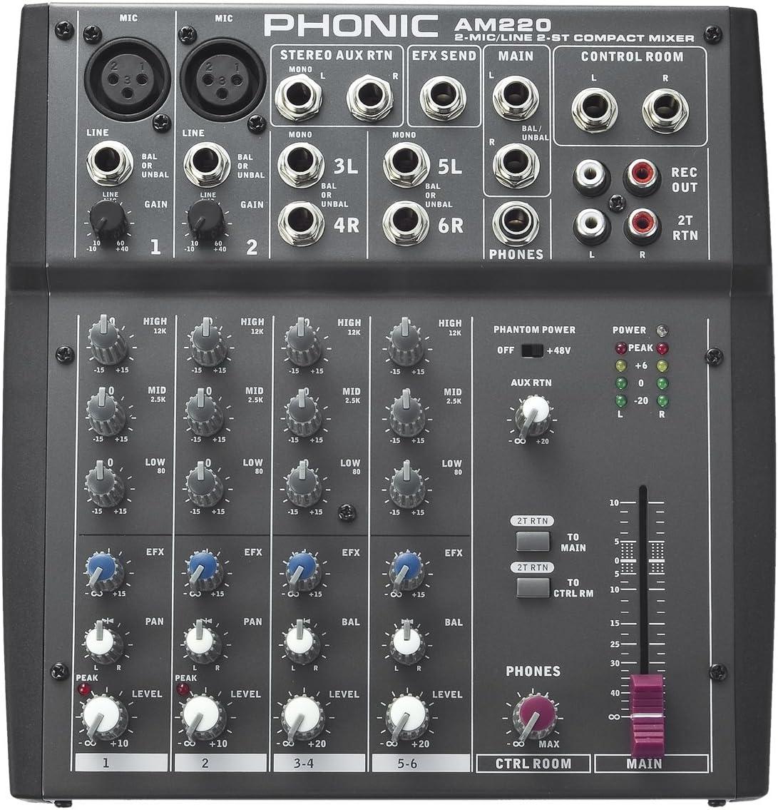 Phonic AM220, mesa de mezclas.: Amazon.es: Instrumentos musicales