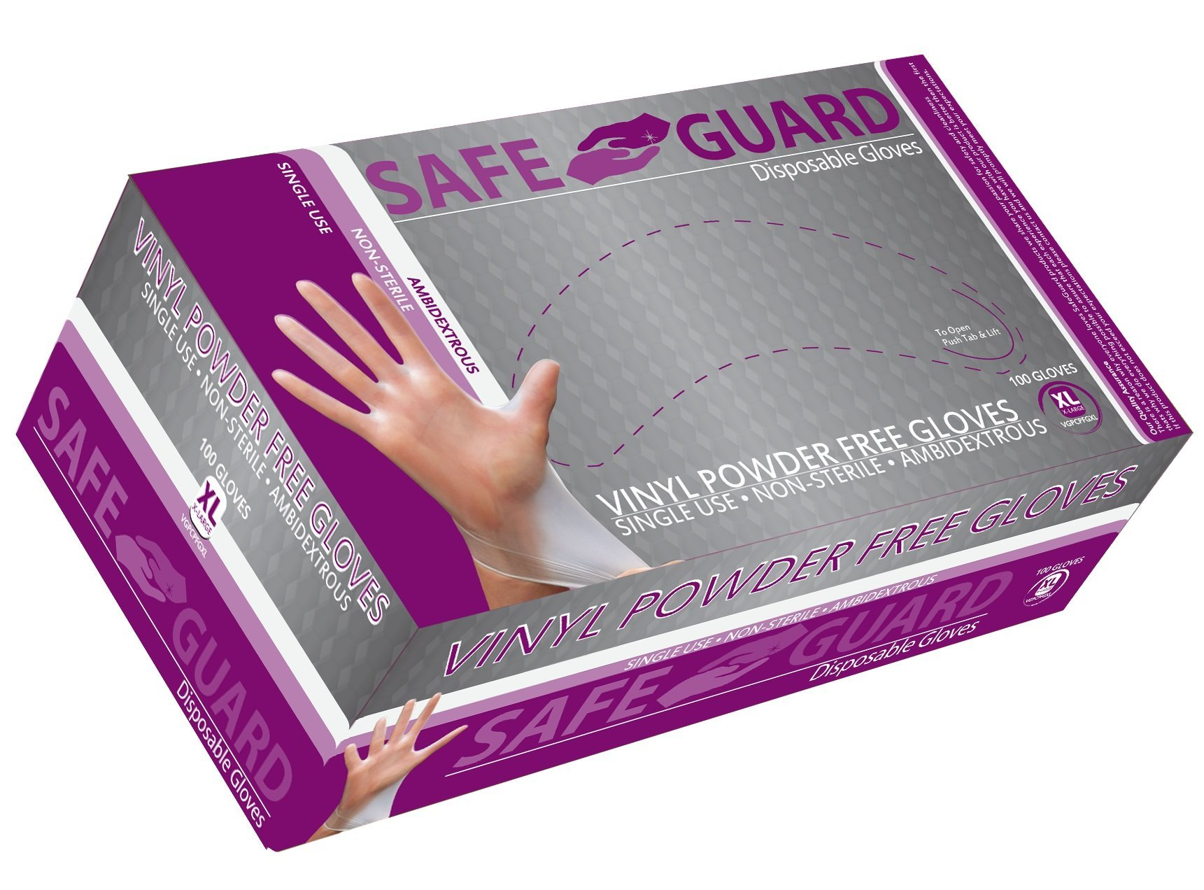 SAFEGUARD Vinly Powder Free Gloves, Medium, 100 Count (Pack of 10)