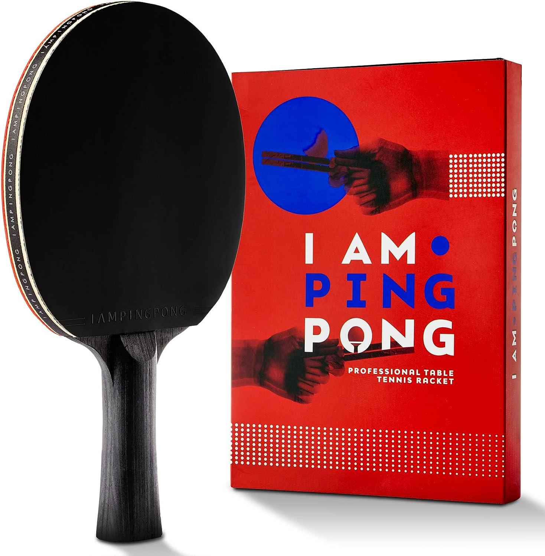 I AM PING PONG Cinco Estrella del Ping-Pong Conjunto de murciélagos en la Tabla Profesional Paddle Serie ITTF Aprobado Goma Tecnología Carbon Reducción del Choque y la vibración Casode Cuero incluida