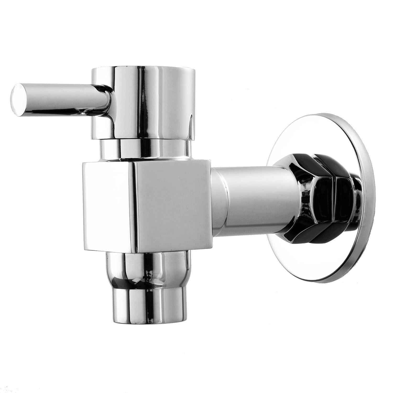 Hanghans Single Cross Handle Wall Mounted Basin Tap Chrome Finish Washing Machine Taps Kitchen Washing Water Tap