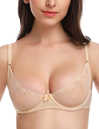 e603ea8a8d Wingslove Women s Sexy Lace Bra Soft Mesh Underwired Demi Bra Unlined See  Through Bralette(Beige