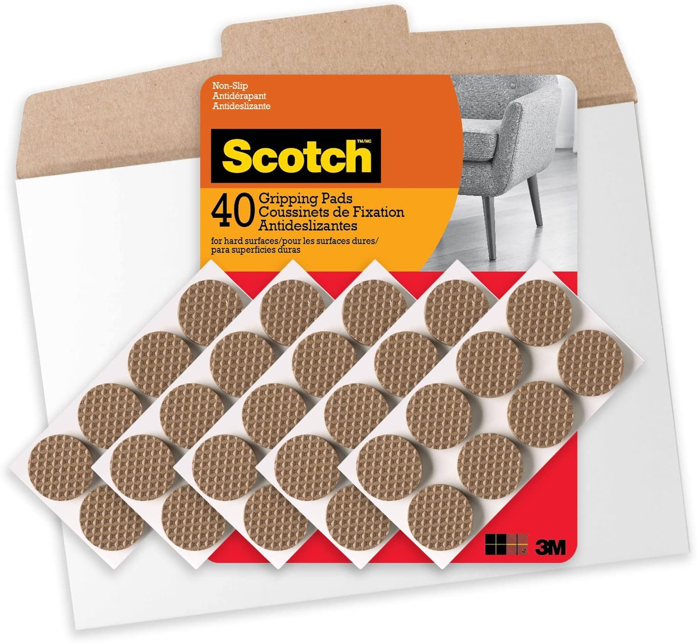 Scotch Mounting, Fastening & Surface Protection 40 Pads, Brown, Gripping Pads in Easy to Open Packaging, 1 Inch