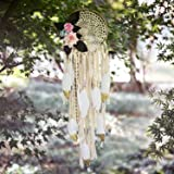 TEESHLY Boho Dream Catchers with White Gold Feather Handmade Dreamcatchers with Flowers for Wall Hanging Decoration…