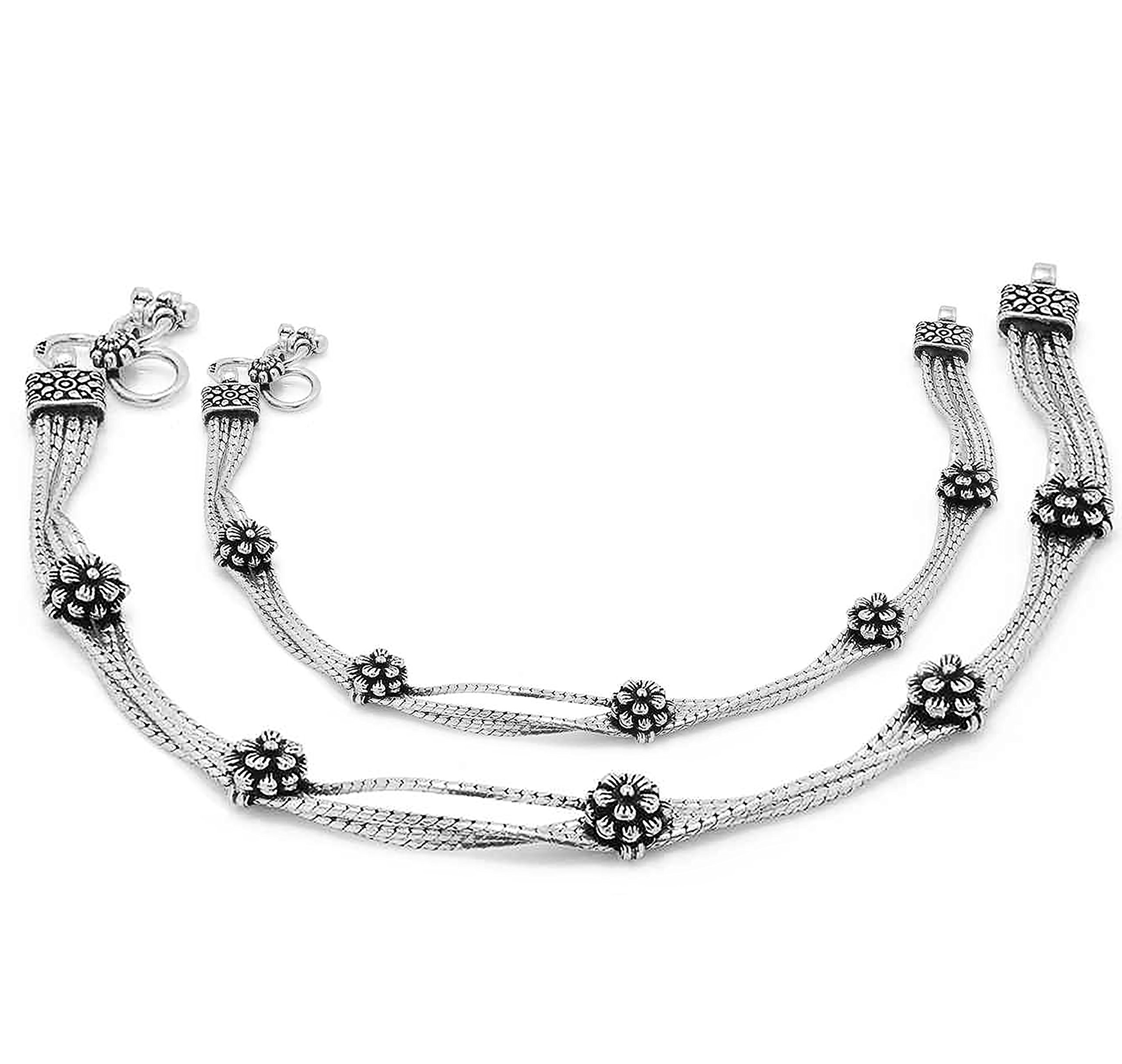 D&D Crafts Attractive Sterling Silver Pair of Anklets For Girls, Women