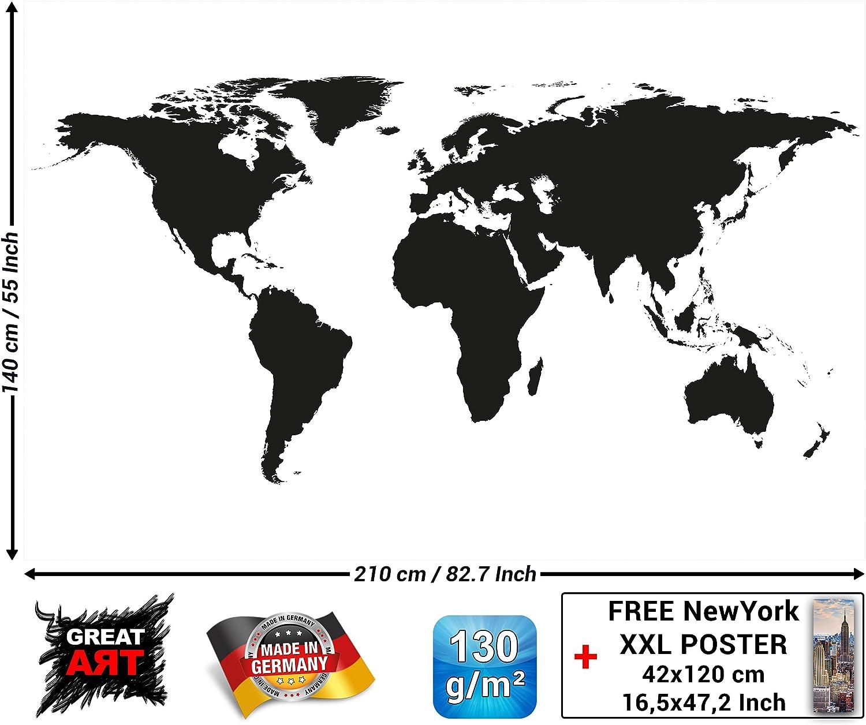 GREAT ART Mural de Pared – Mapa Mundial en Blanco y Negro – Mapa ...