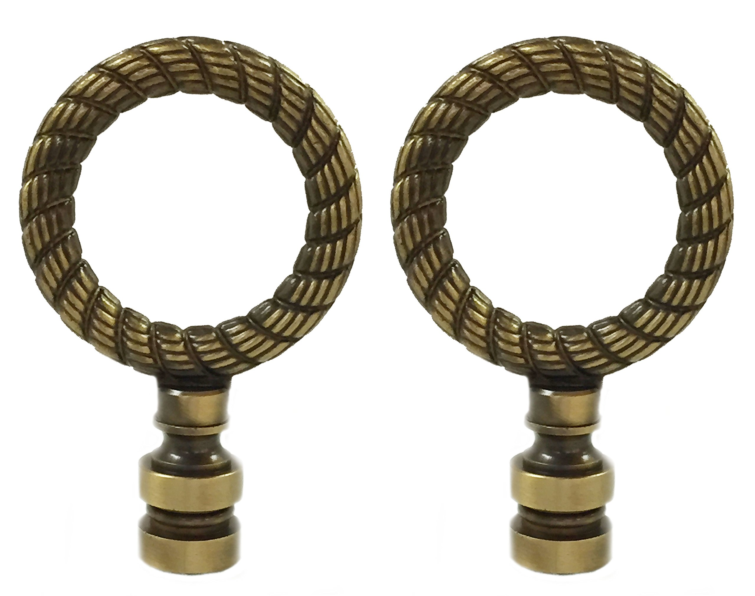 Royal Designs Rope Wreath Lamp Finial for Lamp Shade- Antique Brass Set of 2