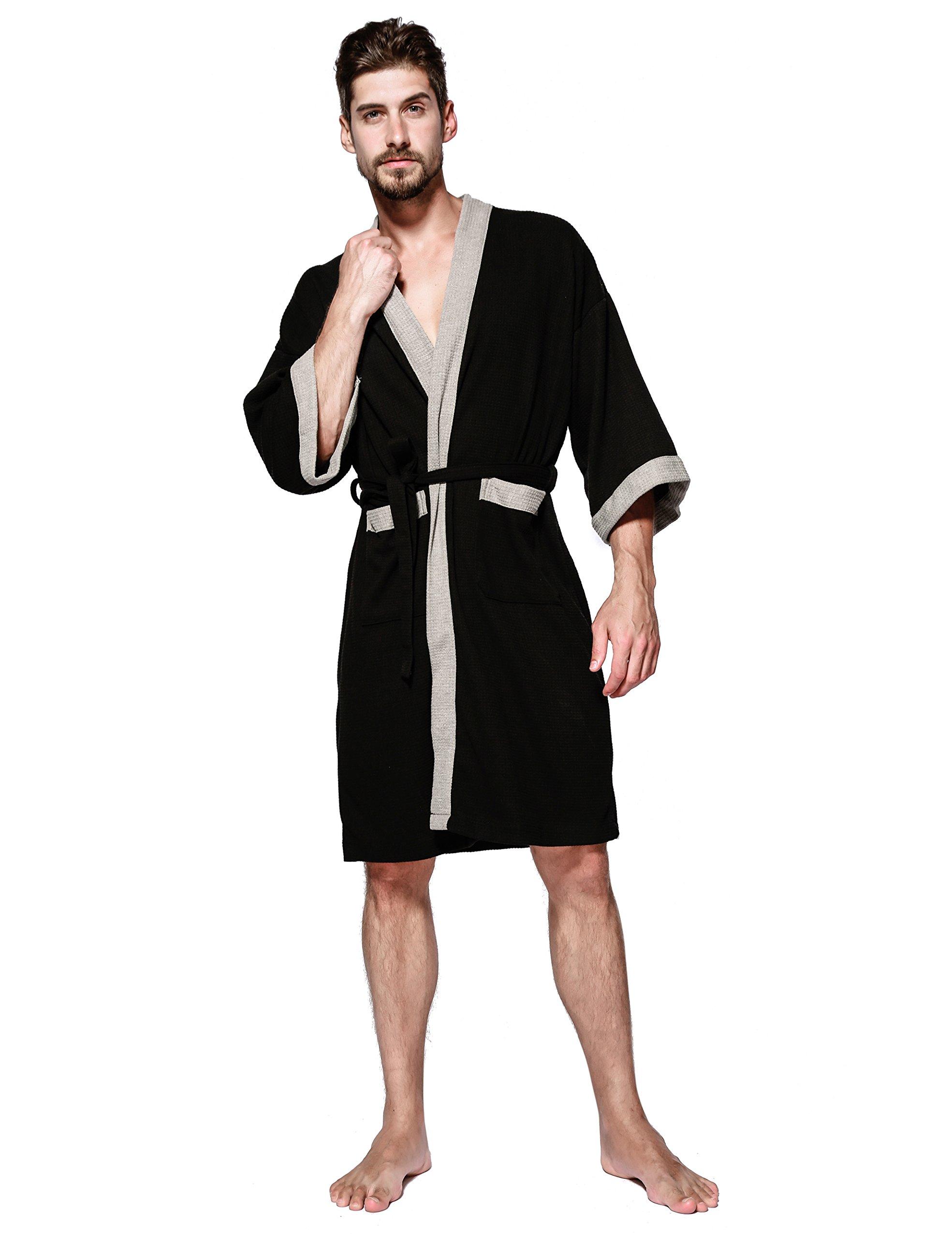 Men's Kimono Robe Cotton Spa Bathrobe Lightweight Soft Knee Length Sleepwear with Pockets