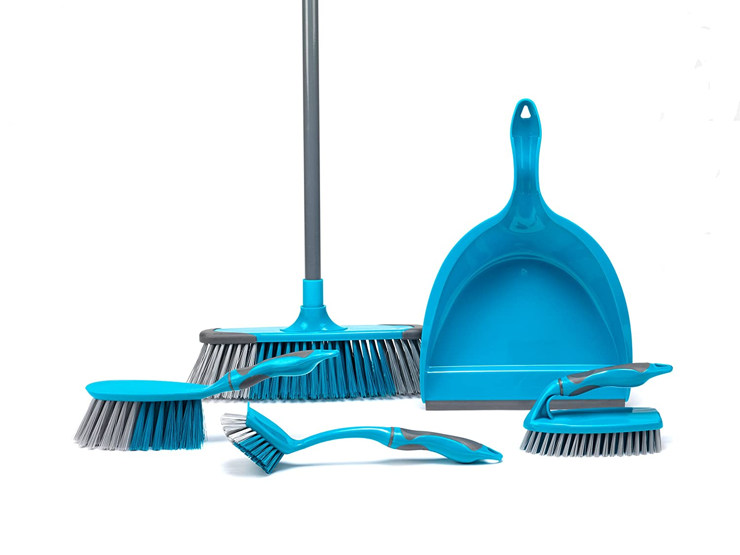 Turquoise Scrubbing Brush /& Dish Brush Beldray LA024152TQ 5 Piece Cleaning Set with Broom Dustpan and Brush