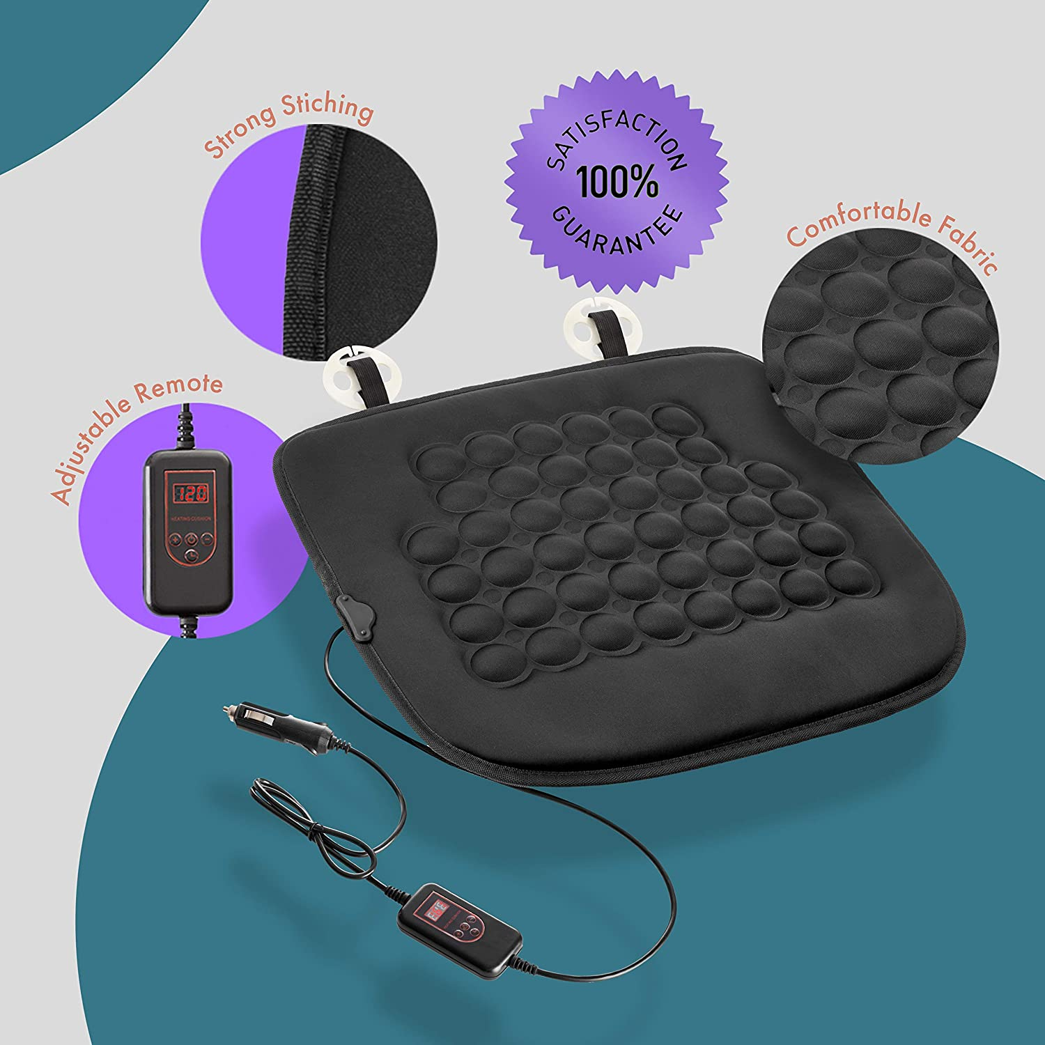 Fireproof NEW and IMPROVED 2019 Version 12V Heating Warmer Pad Cover Perfect for Cold Weather and Winter Driving Zone Tech Car Heated Seat Cover Cushion Hot Warmer