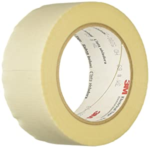 """3M Glass Cloth Electrical Tape 69, White, 1"""" Width, 5 yds Length, 1 roll"""