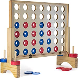 Prextex Giant 4 in A Row Wooden Family Game 3ft x 2 ft Indoor/Outdoor Use Connect The 4 to Win Travel Bag Included