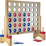 Prextex Giant 4 in A Row Wooden Family Game 27x24 inches Indoor/Outdoor Use Connect The 4 to Win Travel Bag Included