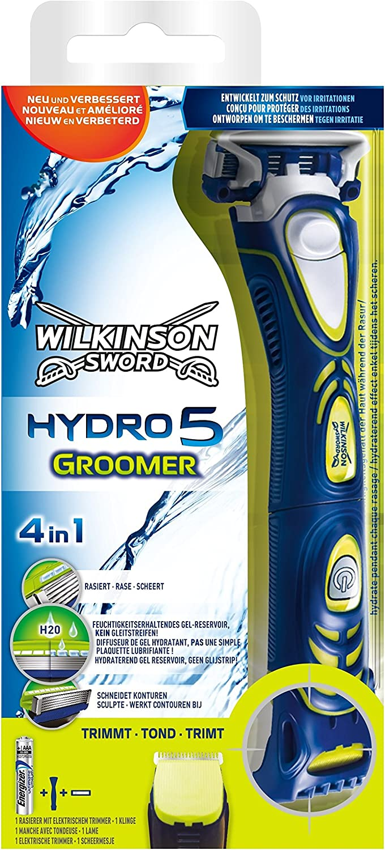 Wilkinson Sword Hydro 5 Groomer - Máquina de Afeitar Recargable de 5 Hojas con Recortador Eléctrico y Peine Regulable , Multifunción 4 en 1