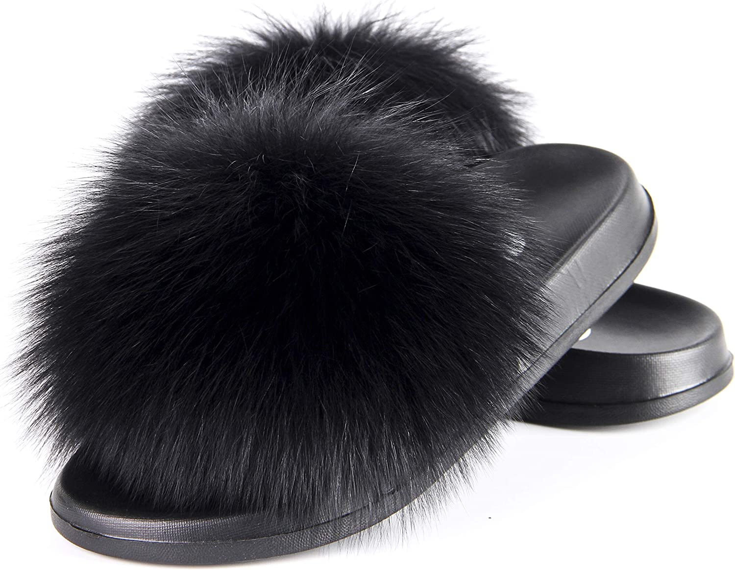 Womens Real Fox Fur Slippers Slides Sandals Indoor Outoor Beach Casual Shoes